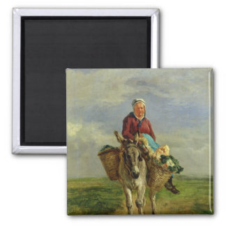 Country Woman Riding a Donkey Square Magnet