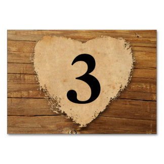 Country Wood and Heart Table Number Card