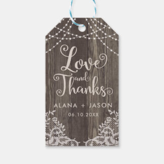 Country Wood and Lace Wedding Favor Tag Pack Of Gift Tags