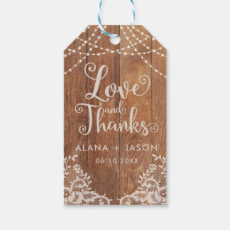 Country Wood and Lace Wedding Favor Tag, Rustic Pack Of Gift Tags