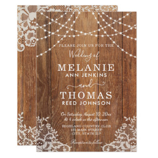 Country Wood and Lace Wedding Invitation, Rustic Card