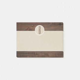 Country Wood & Brown Kraft Rustic Monogram Initial Post-it Notes