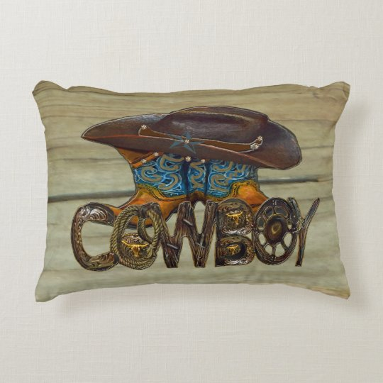 Country Wood Cowboy Accent Pillow