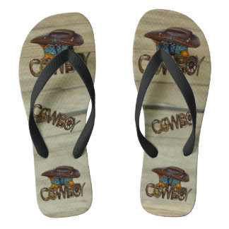 Country Wood Cowboy Flip Flops