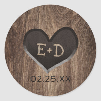 Country Wood Heart Monogram Rustic Wedding Classic Round Sticker