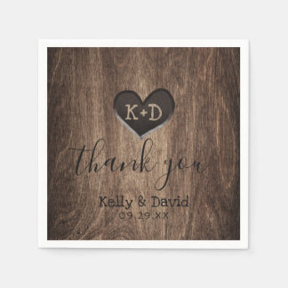 Country Wood Heart Monogram Rustic Wedding Disposable Napkins