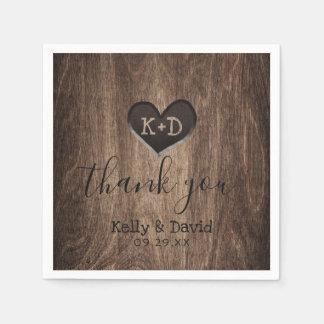 Country Wood Heart Monogram Rustic Wedding Paper Napkin