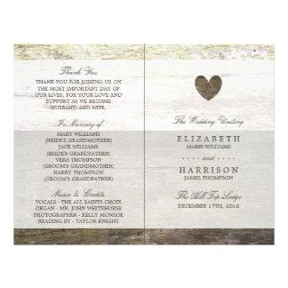 Country Wood Heart Wedding Program