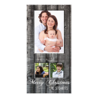Country Wood Three Photo Christmas Card
