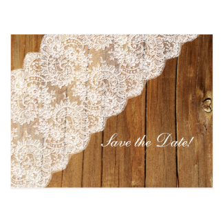 Country Wood Vintage Lace Wood Save the Date Postcard