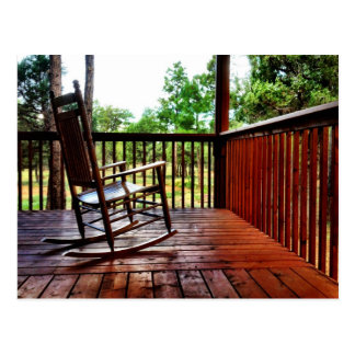 Country Wooden Rocking Chair on Porch Postcard