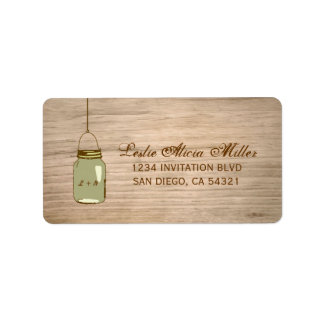 Country Wooden Rustic Mason Jar Address Labels