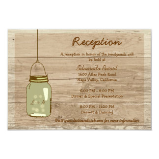 "Country Wooden Rustic Mason Jar Reception Card 3.5"" X 5"" Invitation Card"