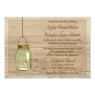 Country Wooden Rustic Mason Jar Wedding Invitation