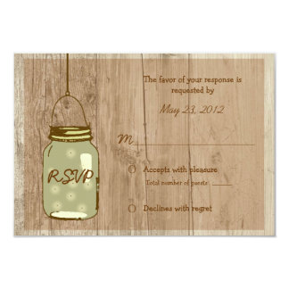 "Country Wooden Rustic Mason Jar Wedding RSVP 3.5"" X 5"" Invitation Card"