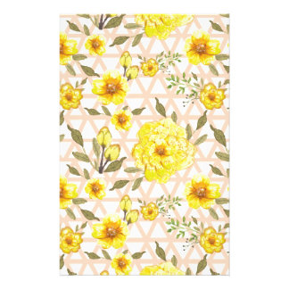 Country Yellow Flowers on a Trellis Stationery Design