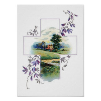 Countryside Christian Cross Poster