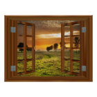 Countryside Cow Farm Faux Window View Sunset USA Poster