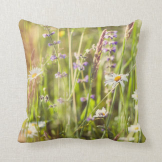 Countryside flowers throw pillow