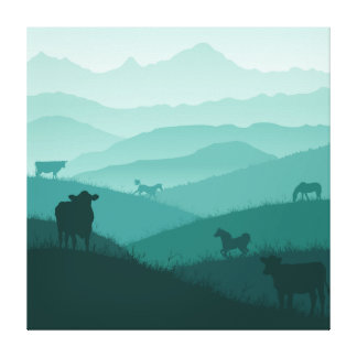 Countryside morning fog scenery with animals canvas print