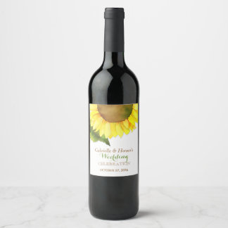 Countryside Sunflower Wedding Wine Label