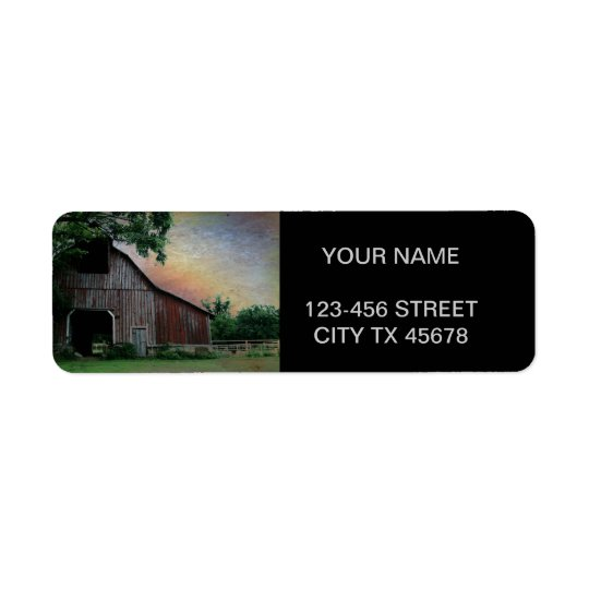 countryside sunset farm landscape old red barn return address label