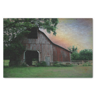 countryside sunset farm landscape old red barn tissue paper