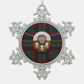County Cork Irish Tartan And Sporran Snowflake Pewter Christmas Ornament