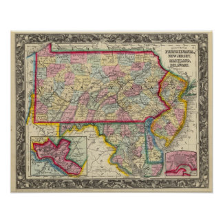 County Map Of Pennsylvania, New Jersey Poster