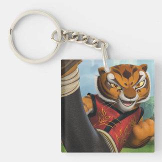 Coup-de-pied de tigresse porte-clé carré en acrylique double face