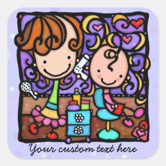 Coupes de cheveux des enfants des enfants de salon sticker carré