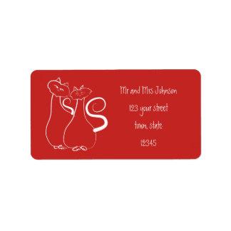 Couple Address Label Cats Red Minimalistic