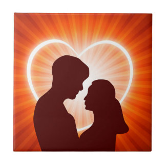 Couple and Glowing heart Ceramic Tile