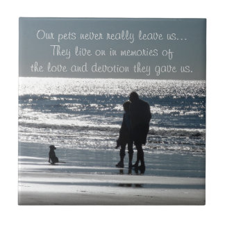 Couple and Their Dog by the Ocean - Personalizable Tile