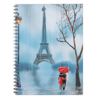 Couple at the Eiffel Tower Paris painting Notebook