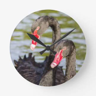 Couple black swans clocks