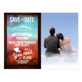 couple boy girl love clouds/Save The Date Postcard
