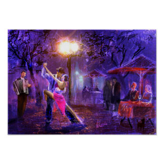 Couple dancing to tango in the night poster