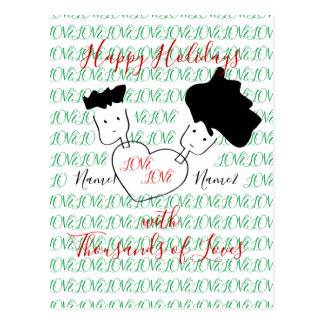 Couple Doodle Holiday Greetings Postcard