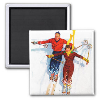 Couple Downhill Skiing Magnet