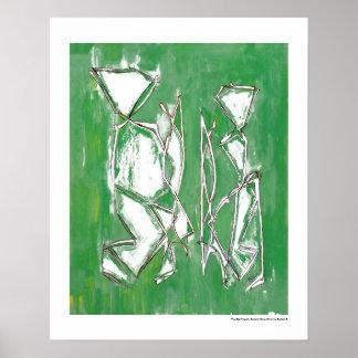 Couple Eco Friendly Green Modern Art by MC Belkadi Poster
