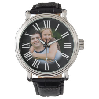 Couple Engagement Portrait Your Photo in Center Wristwatches