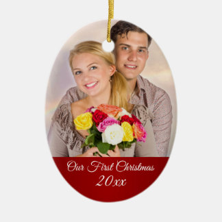 Couple First Christmas Holiday Photo Ceramic Ornament