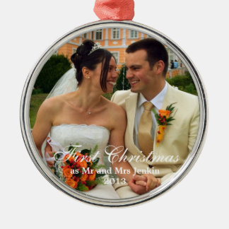 Couple first Christmas holiday wedding photo Silver-Colored Round Ornament