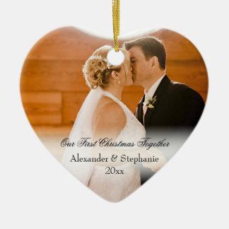 Couple First Christmas Together Keepsake Photo Ceramic Heart Ornament