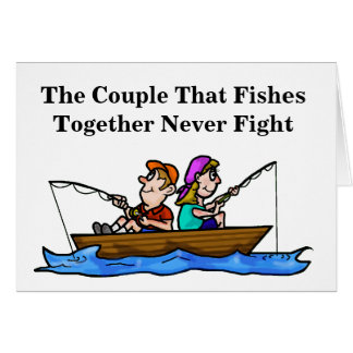 Couple Fishing in Boat Anniversary Card
