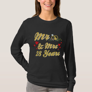 Couple Gift For 28th Wedding Anniversary T-Shirt