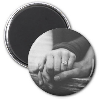 Couple hands 2 inch round magnet