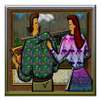 Couple Holding Plaque II Square Print