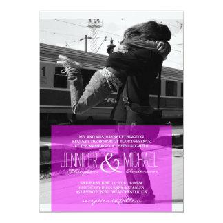 Couple hugging at the station/Wedding Invitation